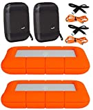 """LaCie 2 Pack 5TB Rugged Mini USB 3.0 2.5"""" Portable External Hard Drives Compatible with Mac and PC - Water and Drop Resistance with Compact Pocket Cases Compatible with LaCie LACSTJJ5000400 Hard Drive"""