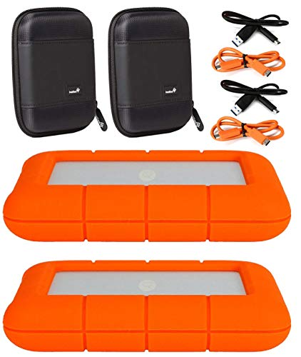 LaCie 2 Pack 5TB Rugged Mini USB 3.0 2.5' Portable External Hard Drives Compatible with Mac and PC - Water and Drop Resistance with Compact Pocket Cases