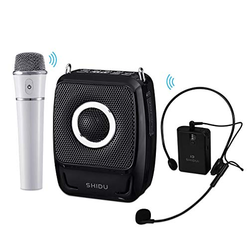 SHIDU Wireless Voice Amplifier with Two Microphone, S92 25W Rechargeable Portable Bluetooth 5.0 PA Speaker System for Teacher Tour Guide Meeting Training Wedding Karaoke