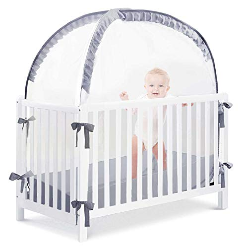 L RUNNAZER Baby Safety Crib Tent to Keep Baby from Climbing OutPop Up Crib Tent to Protect Your Baby from Falls and BiteSee Through Mesh Top Nursery Mosquito Net