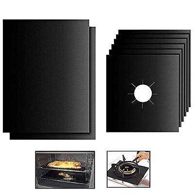 "Stylish14 Oven Liner and StoveBurnerCoversBBQ MatSetReusable10.6""x10.6""GasRangeProtectorsStovetopBurnerLinerCoverHeavyDutyUseGasToasterOvensMat Black Pack of 8"