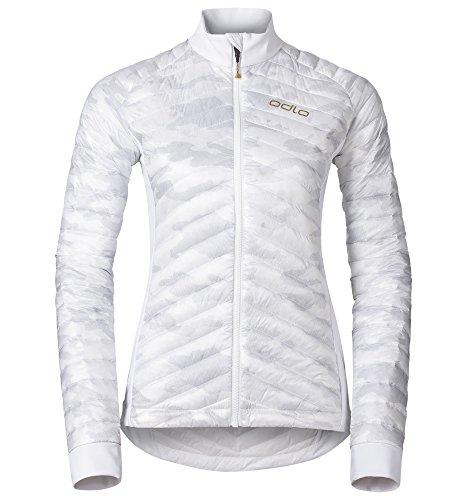 Odlo W Helium Cocoon Veste Isolante Coupe-Vent pour Femme avec Fermeture Éclair intégrale Camouflage/Blanc Taille XS
