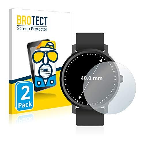 BROTECT 2X Entspiegelungs-Schutzfolie kompatibel mit Armbanduhren (Kreisrund, Durchmesser: 40 mm) Matt, Anti-Reflex, Anti-Fingerprint