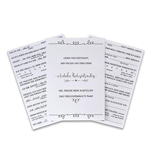Feenstaub Gästebuchkarten Hochzeit, 30 Karten lustige Fragen an Hochzeitsgäste zum Ausfüllen &...