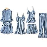 ubss pigiama da donna 5 pezzi in seta blushy set pigiama da notte in raso di seta con finiture in pizzo 5 pezzi vestaglia vestaglia camicia da notte con imbottitura sul petto zaffiro l