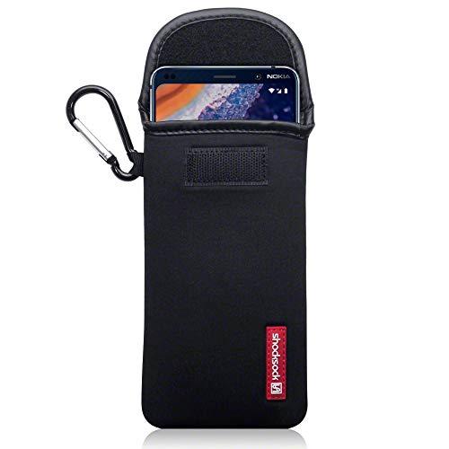 SHOCKSOCK, Kompatibel mit Nokia 9 PureView Neopren Tasche mit Carabiner Hülle - Schwarz