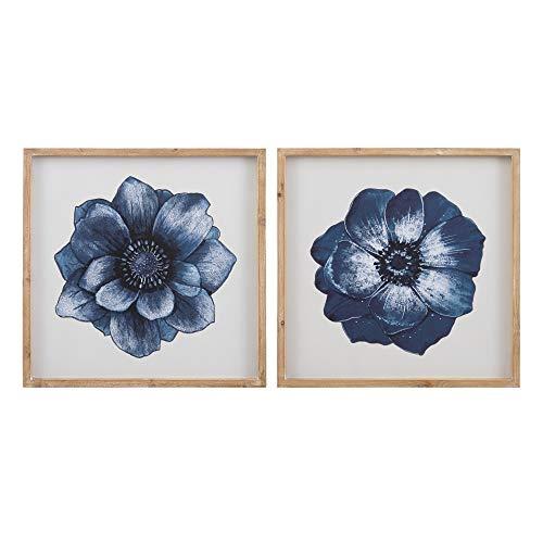Set de 2 Cuadros de Flor fotoimpresos de Cristal y Madera Azul - LOLAhome