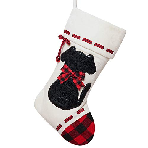 ALLYORS Dog Cat Christmas Stocking, 19''Xmas Pet Hanging Stockings with Fuzzy Santa Hat and Plush Doggie Kitty Embroidered for Pets Gifts Bag Personalized Cuff Lovely Home Holiday Decoration (wdog)