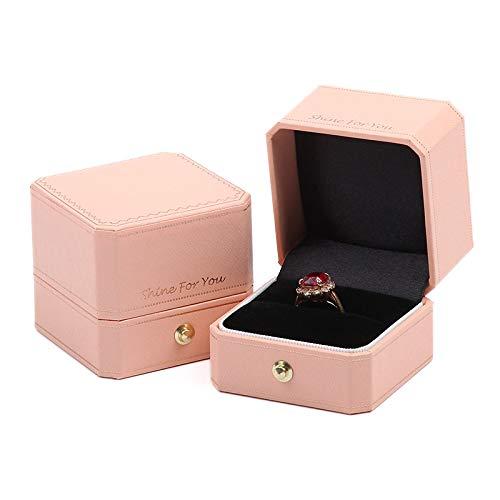 mailang Caja De Joyería Europea Rosa Caja De Anillo De Diamante De Matrimonio De Alto Grado 5.5 * 5.5 * 5 Cm