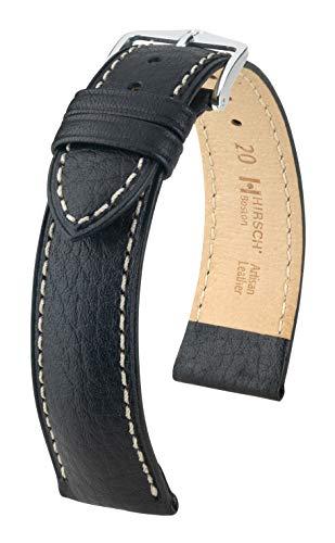 HIRSCH XS Correa de reloj de pulsera para mujer, piel de búfalo modelo Boston color negro, tamaño reloj 18 mm/cierre 16 mm