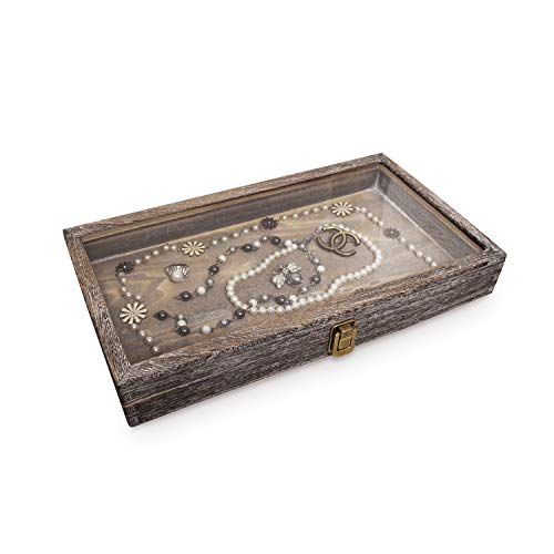 MOOCA Wood Glass Top Jewelry Display Case Accessories Storage, Wooden Jewelry Tray for Collectibles, Home Organization Box with Metal Clasp and Tempered Glass Top Lid, Coffee