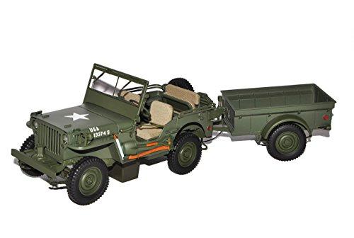 AUTOart Jeep Willys MB Arme mit Anhänger und Zubehör 1943 74016 1/18 Modell Auto