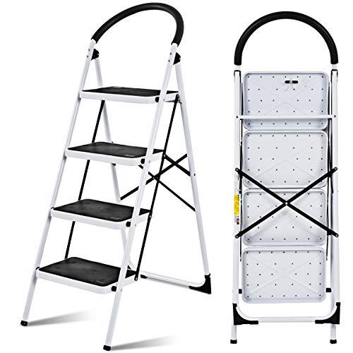 RELAX4LIFE Klapptritt mit Breiten Stufen, Klappbare Stehleiter aus Metall, Trittleiter mit Einer max. Tragfähigkeit von 150 kg, Haushaltsleiter mit rutschfestem Fußpolstern, Schwarz (4-Stufen)