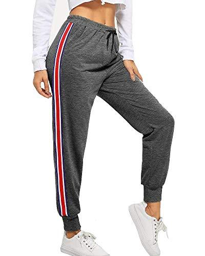 BUDERMMY Damen Jogginghose Sporthose Freizeit Streifen Hose Baumwolle Elastischer Bund Traininghose mit Taschen (Dunkelgrau-S)