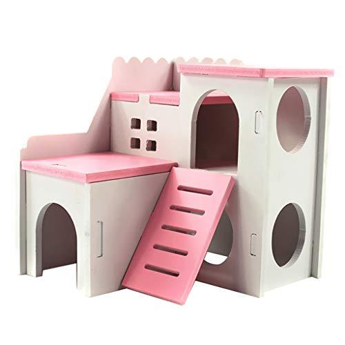 Hamsterhaus Kleintierhaus Nagerhaus Schloss Villa mit Leiter für Hamster, Ratte, Meerschweinchen, Frettchen, Chinchilla, Igel, Eichhörnchen, usw. - Rosa