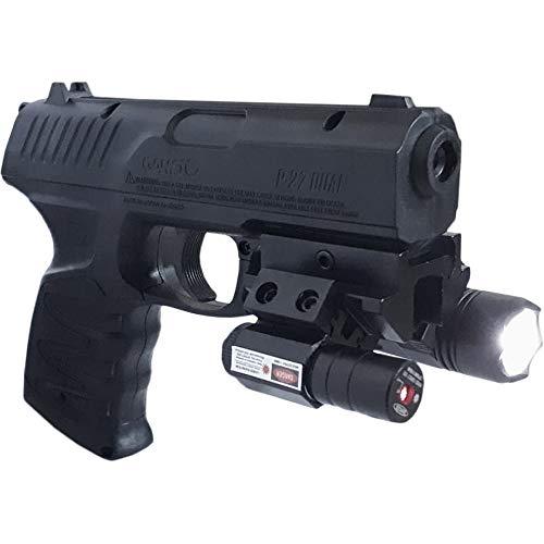 Gamo P-27 TÁCTICAL - con Linterna y Visor láser | Pistola de Aire comprimido (CO2) y perdigones (munición Dual: de Plomo o Bolas de Acero BB's) semiautomática <3,5J