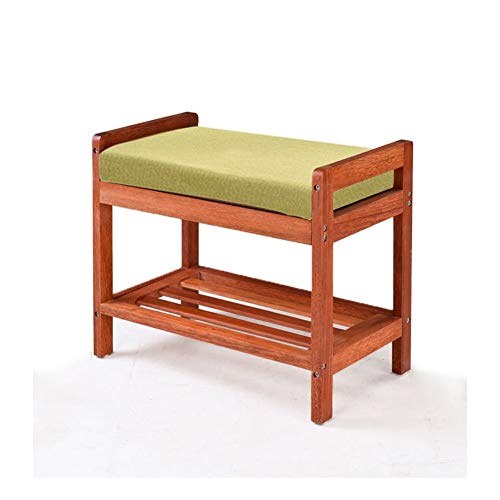 Taburete para cambiar los zapatos, de madera maciza, multifuncional, doble zapatero para sala de estar, asiento pequeño, taburete de almacenamiento simple de almacenamiento europeo (color: #4)