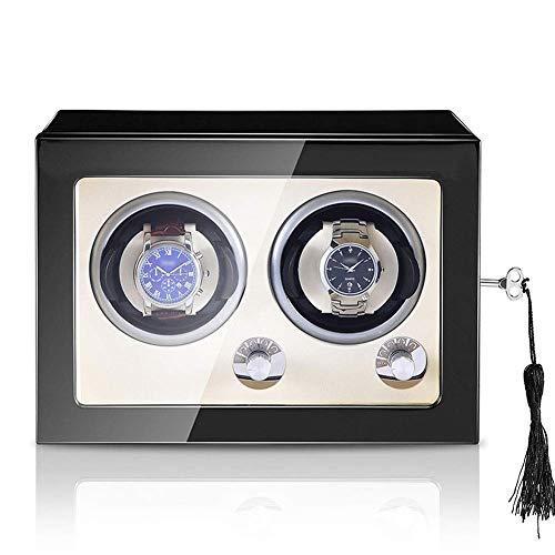 Sunmong Caja enrolladora de Reloj Doble automática, 5 Modos de rotación, Motor silencioso, Caja de Almacenamiento de Reloj de Madera, Adaptador de CA y alimentación por batería