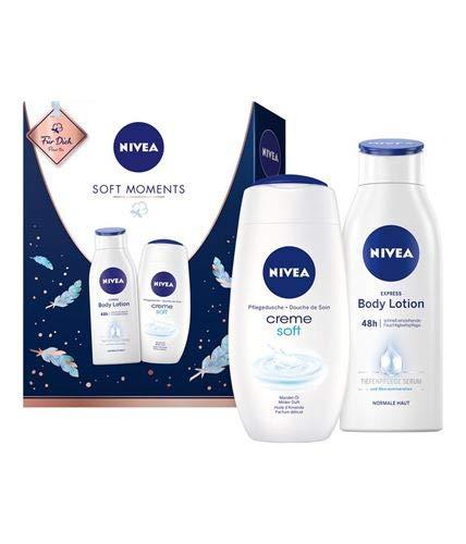 NIVEA Soft Moments Geschenkset, Set mit Body Lotion und Pflegedusche, Wellness Geschenk mit Pflegeklassikern für besondere Wohlfühlmomente