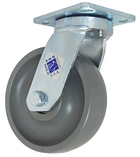Phenolic Wheel 1400 lbs Capacity 4-1//2 Plate Length RWM Casters 47 Series Plate Caster 8 Wheel Dia 2 Wheel Width 9-1//2 Mount Height Kingpinless Swivel 4 Plate Width Roller Bearing