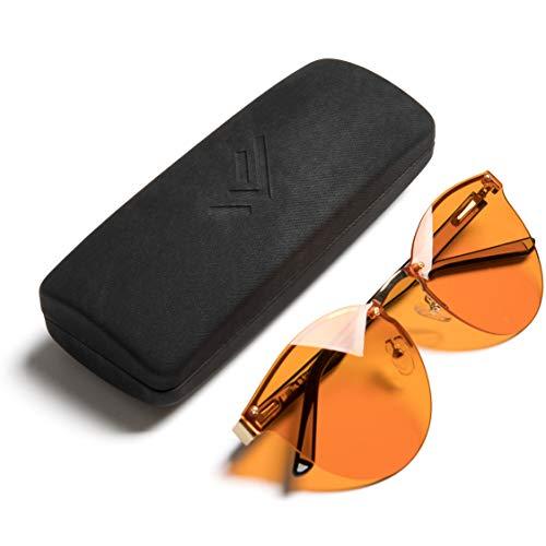 THL Sleep - Occhiali per computer senza montatura per un sonno migliore notturno, filtro luce blu artificiale, lenti ambrate anti affaticamento degli occhi, occhiali per uomini e donne