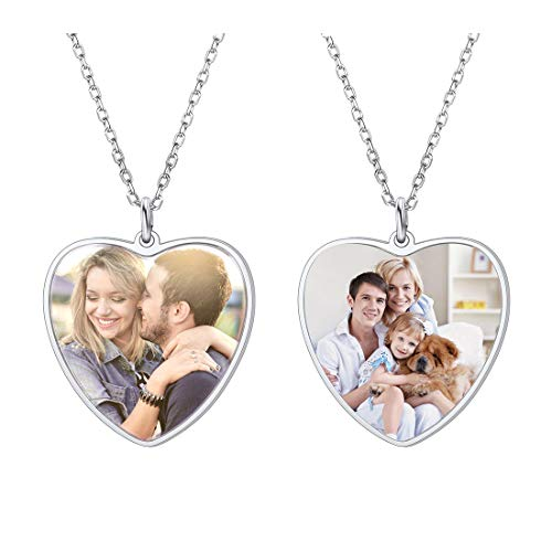 Custom Full Color Photo Necklace with 925 Sterling Silver Chain 22' Trendy Heart Shaped Pendant Women Girls Personalized Jewelry,Both Sides Images Print
