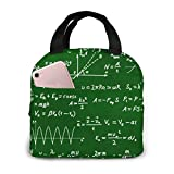 Basic Math Equations And Formulas White Chalk Portable Insulated Lunch Bag Workers Students Simple And Elegant Portable Insulation Lunch Bag