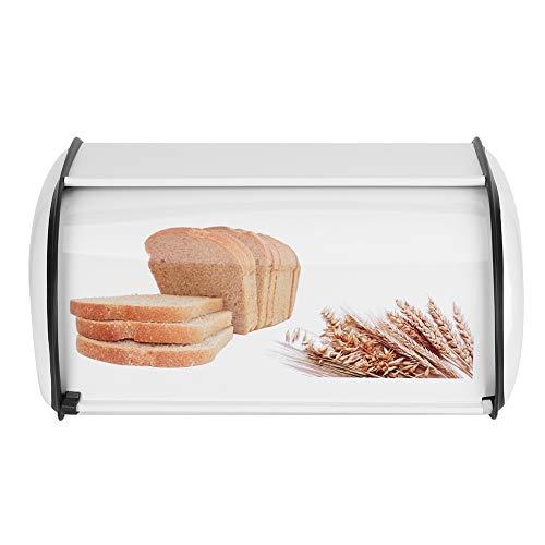 BLLBOO Chlebak ze stali nierdzewnej – chlebak biały, uchwyt na chleb o dużej pojemności ze stali nierdzewnej (biały)