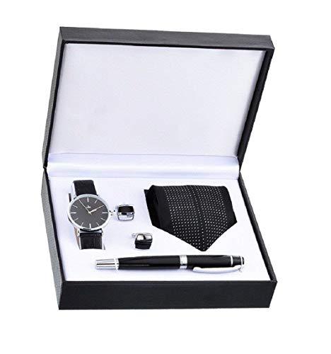 Souarts Herren Geschenkset mit Armbanduhr Männer Geldbörse Gürtel Auto Schlüsselanhänger Krawatte Manschettenknopf Füllfederhalter Geschenkset für Herren