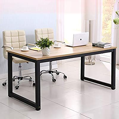 hmercy Home Office Desk, 47-Inch Computer Desk with Modern Simple Design, Simple Writing Study Table, Industrial Style Wood Top and Black Metal Frame for Home Office.