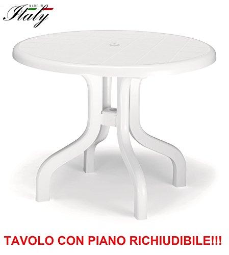Tafel voor buiten, kunsthars, wit, diameter 95 cm, met softclose, voor de kamer, 4 verstelbare poten – gemaakt in Italië.