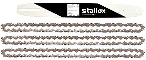 """tallox Schwert und 3 rückschlagarme Sägeketten 3/8\"""" 1,1 mm 52 TG 35 cm Führungsschiene kompatibel mit Bosch Makita und andere"""