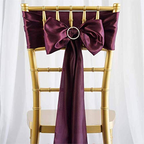 Efavormart 25pcs Eggplant Satin Chair Sashes Tie Bows for Wedding Events Decor Chair Bow Sash Party Decoration Supplies 6 x106
