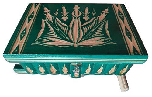Nouveau Grand, énorme boîte de Puzzle en Bois secrète Magique à Bijoux de Rangement sculpté à la Main Jouets pour Les Enfants (Vert)