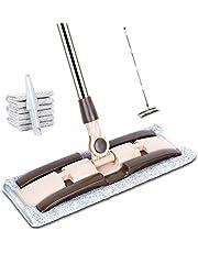 モップ フロアモップ ZALADO フロアワイパー 業務用モップ 回転 フラットモップ 交換用マイクロファイバー 4枚付き 片手で操作可能 ウェット・ドライ両用可能 腰曲げず 掃除・清掃・床掃除 丸洗い可能