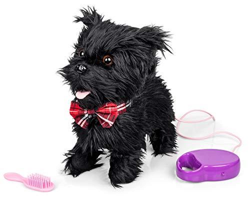 Animigos Scurrying Scotty, süßer schwarzer Plüschhund, Terrier mit roter Fliege, ca. 22 cm groß, kann laufen und bellen, mit Bürste und Leine, für Kinder ab 18 Monaten