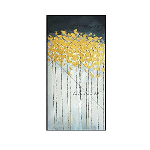 KIVDFIGE Pop Dipinto a Mano Pittura a Olio Astratta Moderna di Alta qualità in Oro e Blu su Tela per la Decorazione del Soggiorno Pittura murale Astratta 60x90cm