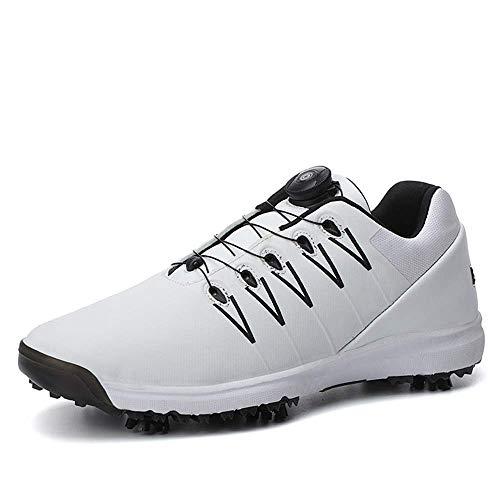 Sooiy Profesional de Golf, la Zapatilla de Deporte con Tachuelas de protección Exterior de Cuero, Zapatos de Entrenamiento de Peso Ligero y Transpirable Trekking de Golf,Cordones 2019