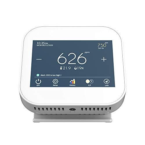 TOPQSC - Rilevatore di CO2 con sensore NDIR a doppio canale, controllo dell umidità della temperatura RH Ultrafine polvere accurata, monitor LCD per rilevamento dell inquinamento dell aria (bianco)