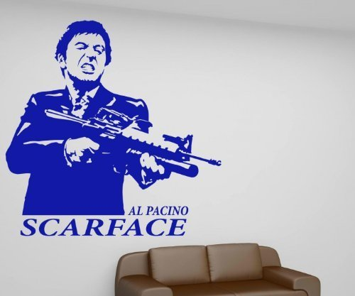 Wandtattoo Scarface, Al Pacino Aufkleber, Gangster Film oldschool Tattoo 1T011, Farbe:Weiß glanz;Hohe:45cm