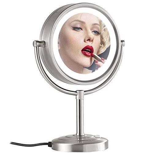 HGXC Espejo cosmético de encimera, Espejo de Maquillaje con Luces LED, Espejo de Maquillaje Redondo, Cromo de rotación 360