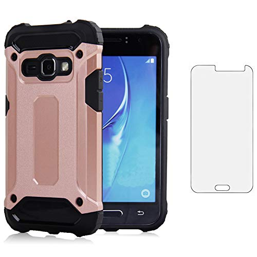 Phone Case for Samsung Galaxy J3 2016/J 3 V/J36V/Sky/Amp Prime with Tempered Glass Screen Protector Cover and Cell Accessories Slim Silicone Glaxay Sol J3V J36 6 J320V J320A Women Men Cases Rosegold