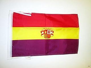AZ FLAG Bandera ESPAÑA Republicana con Escudo 45x30cm - BANDERINA DE LA Republica ESPAÑOLA 30 x 45 cm cordeles