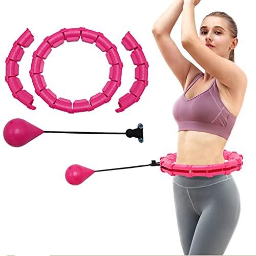 Ruosaren Aros Hoola inteligentes con pesas, aro de masaje para abdominales para adultos y pérdida de peso, 24 nudos desmontables, peso ajustable, bola de giro automático para ejercicio