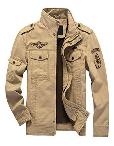 PASOK Men's Winter Military Jacket Casual Coat Stand Collar Cotton Cargo Bomber Jacket Khaki S