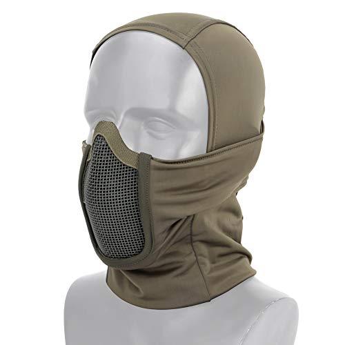 OAREA Taktische Airsoft Paintball Vollgesichtsmaske aus Stahlgewebe Polyester Sturmhaube Jagd CS Maske Radfahren Schutzhelm Liner Cap