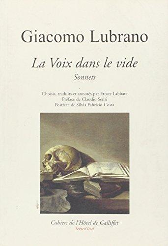 Giacomo Lubrano, La Voix dans le vide. Sonnets.