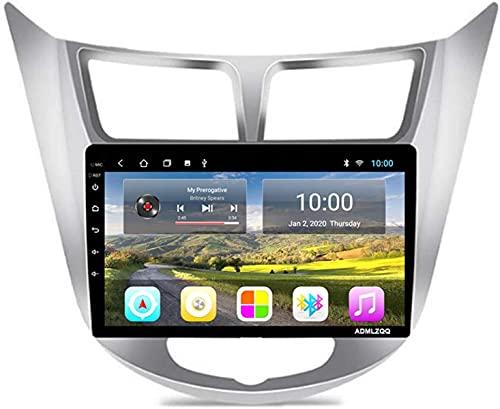 para Hyundai Solaris Accent Verna 2011-2017 Android 10.0 Car Radio Multimedia Estéreo, Pantalla Táctil De 9 Pulgadas/Bluetooth/GPS/FM/Cámara De Visión Trasera