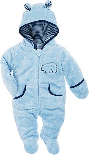 Schnizler Baby fleece overall, ademende unisex jumpsuit voor jongens en meisjes, met lange ritssluiting en capuchon, met beer-stiksel