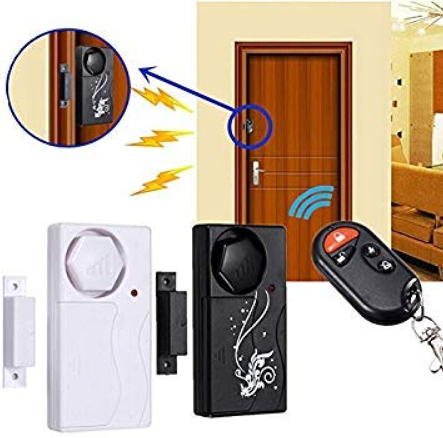 Home Security Door Window Alarm System with Magnetic Siren 110Db + Remote Control(Black)